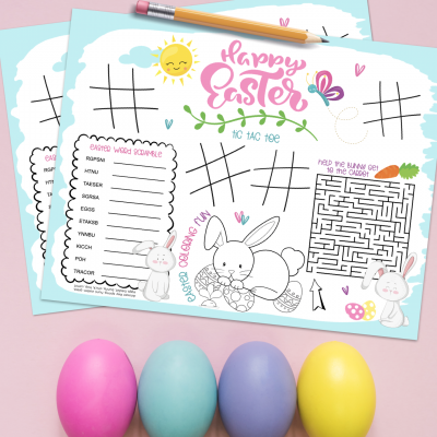 Keep kids entertained with our free Easter Printable! These super cute activity placemats have tic tac toe, a bunny maze, a word scramble and an Easter Bunny Coloring sheet. Free download! #Printable #Printables #KidsActivities #Easter #ActivitySheet