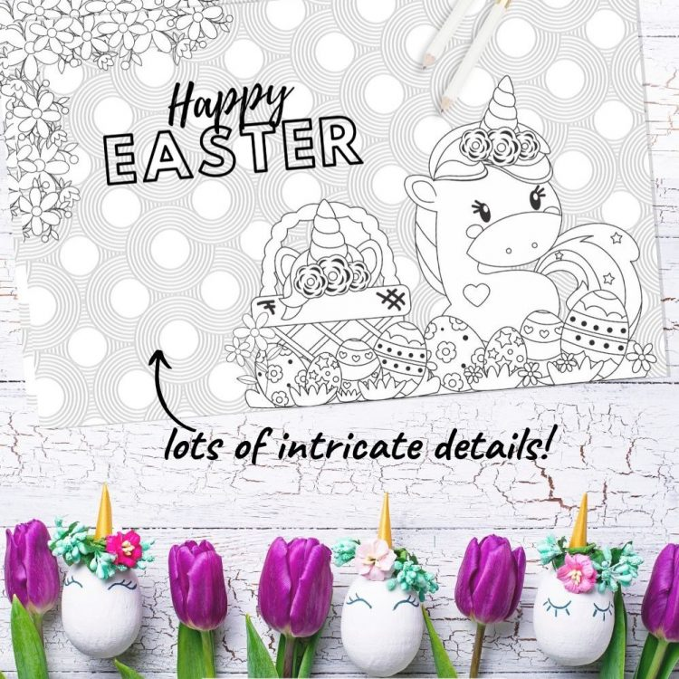 Looking for free kids activities? This unicorn Easter coloring sheet is so cute and is a great idea for kids quarantine activities! An adorable Easter coloring page your kids will love! #Easter #ColoringPage #KidsPrintables #KidsActivities