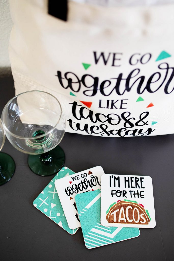 Cricut Taco Infusible Ink Tote Bag and Coasters