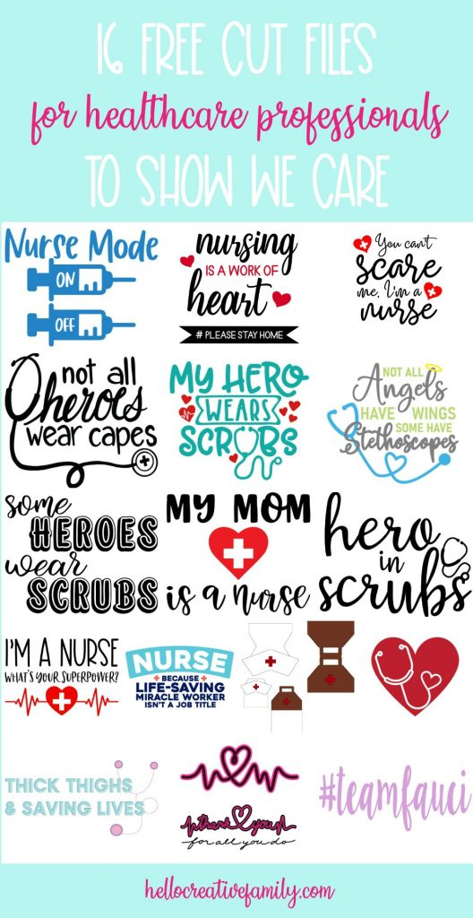 Celebrate healthcare professionals and all they do with 16 free frontline workers svg files including cut files for nurses, doctors and more! Make incredible handmade gifts for the nurses and doctors in your life using your Cricut Maker, Cricut Explore or Silhouette Cameo. #FrontlineWorkers #SVGFiles #CutFiles #FreeSVG #HealthcareAppreciation #CricutCreated #CricutMade #SilhouetteCameo