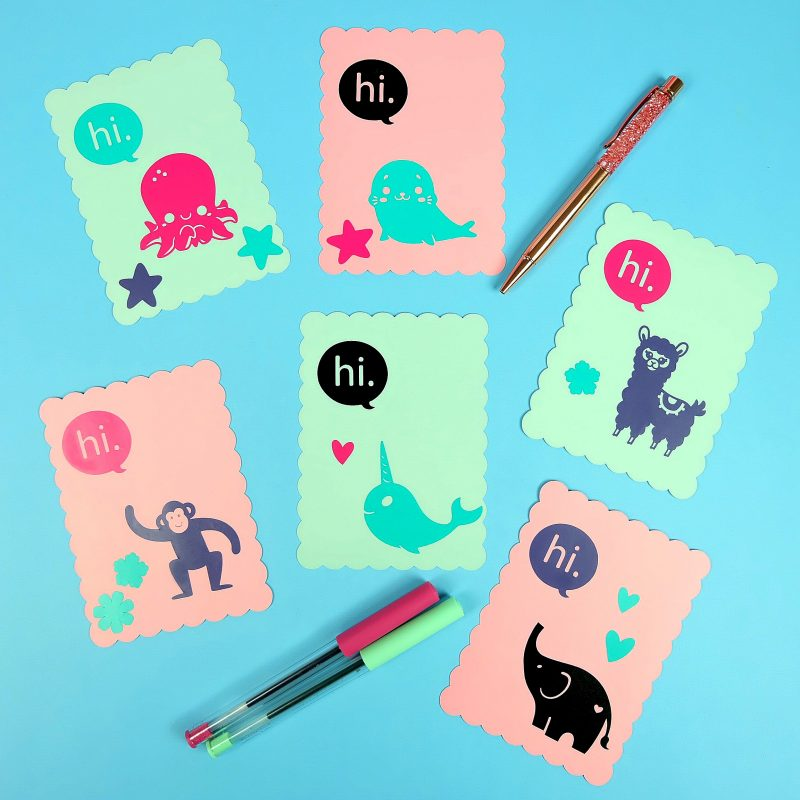 Sometimes it just takes a handmade card to brighten someone's day! Spread random acts of kindness with these adorable Cricut Hello Cards, perfect for kids to make! Simple and easy to make with a Cricut Maker, Cricut Explore Air or even the Cricut Joy! All you need is cardstock and vinyl! #CricutMaker #CricutExplore #CricutCreated #CricutCrafts #CricutMade #DIYCards #HandmadeCards