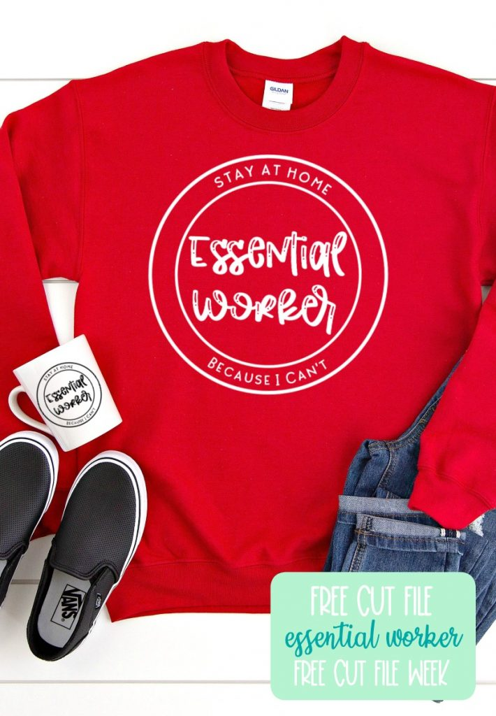"""Download this free Essential Worker Cut file to make hoodies, shirts, mugs and more for people who provide essential services in your life! This free svg says """"Essential Worker Stay Home Because I Can't"""". Use with your Cricut Maker, Cricut Explore, Silhouette Cameo or other electronic cutting machine to make projects for essential workers! #EssentialWorkers #CutFiles #SVGFiles #FreeSVG #CricutCrafts #CricutMaker #CricutExplore #CricutProject #SilhouetteCameo"""