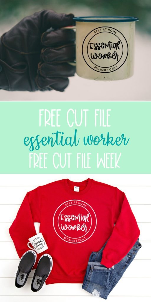 The perfect free essential worker cut file. Download this Essential Worker Stay Home Because I Can't cut file to use with your Cricut Maker, Cricut Explore, Silhouette Cameo or other electronic cutting machine to make projects for essential workers! Makes a great DIY tshirt, mug or hoodie! #EssentialWorkers #CutFiles #SVGFiles #FreeSVG #CricutCrafts #CricutMaker #CricutExplore #CricutProject #SilhouetteCameo