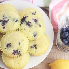 With the sweet burst of blueberries and tartness of lemons this gluten free lemon blueberry muffin recipe is easy and delicious! Takes just 5 minutes of prep and 25 minutes to bake which means hot muffins on the table in just 30 minutes! Who doesn't love an easy 30 minute muffin recipe? Includes substitutions for making with all purpose flour too. The perfect snack to satisfy a sweet tooth! #Baking #Recipe #Blueberry #lemon #BlueberryRecipes #Muffins