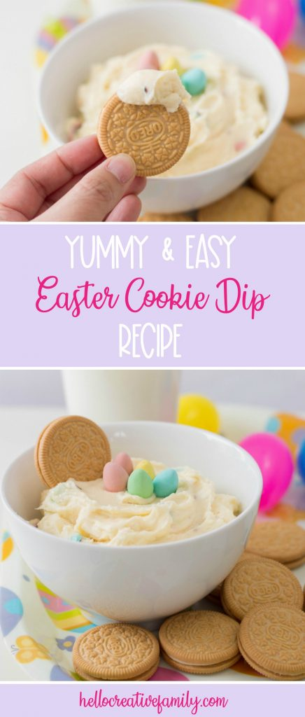 Looking for an Easter dessert idea? This Easter Cookie Dip Recipe is a sweet Easter treat that kids will love! Yummy and easy this simple Easter dessert is made with Cadbury Mini Eggs! #Easter #Dessert #Recipe