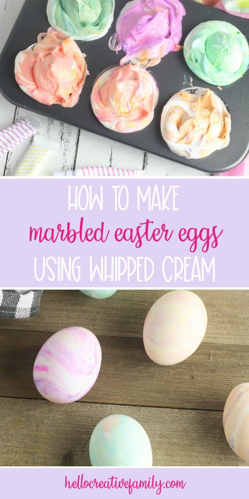 Make the prettiest marbled Easter eggs using whipped cream with this easy tutorial. This family friendly easter egg decorating idea makes beautiful eggs using materials you already have at home! #Easter #EasterEggs #EasterEggDecorating #KidsCrafts #KidsActivities #FamilyFriendlyCrafts #FamilyCrafts