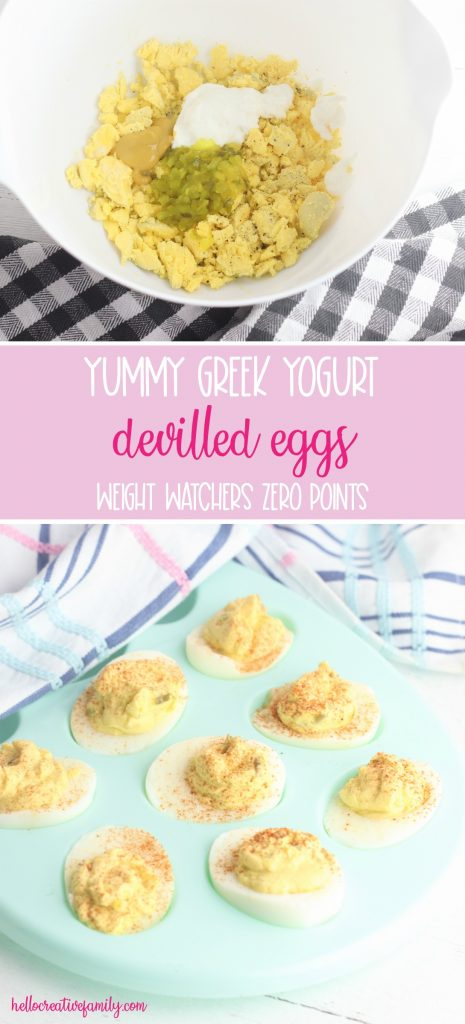 Use up those leftover Easter hardboiled eggs with this easy and yummy greek yogurt devilled eggs recipe! If made with non-fat yogurt they make a zero point weight watchers snack! A delicious and easy appetizer to make when entertaining. Perfect for Easter brunch. A healthy, family friendly snack packed with protein! #Easter #Recipe #DevilledEggs #Eggs #Snack #Appetizer