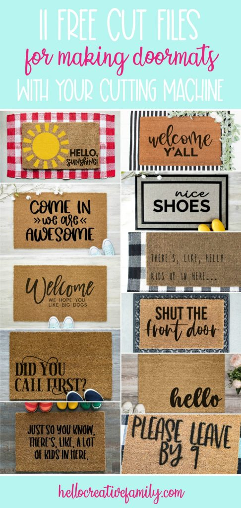 Create a DIY Doormat using one of these 11 free Doormat SVG Files and your Cricut Maker, Cricut Explore or Silhouette Cameo! Craft a Hello Doormat to help decorate your front entrance! #DIY #Craft #FreeSVG #CutFiles #CricutMaker #CricutExplore #SilhouetteCameo #CricutCrafts #CricutMade