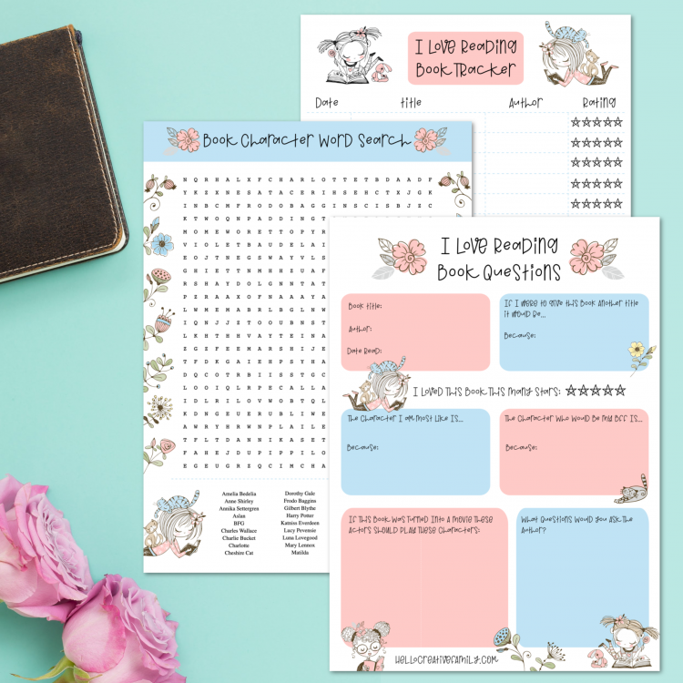 Love books? We do too! Check out these awesome free reading printables! Includes a book tracker, novel study questions and a literary character word search! Perfect for homeschooling and independent studies! #Printables #Reading #Books #BookNerd #Printable #NovelStudies #Homeschooling #FreePrintable #SummerReading