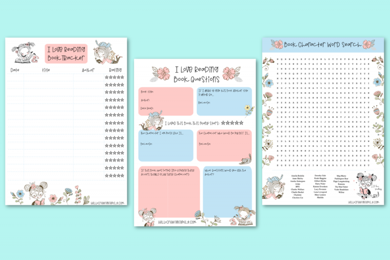 Love books? We do too! Check out these awesome free reading printables! Includes a book tracker, novel study questions and a literary character word search! Perfect for homeschooling and independent studies! #Printables #Reading #Books #BookNerd #Printable #NovelStudies #Homeschooling #FreePrintabl