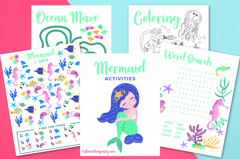 Free printable mermaid activities! Includes a mermaid word search, mermaid coloring sheet, mermaid I spy and an ocean maze! Perfect for mermaid themed birthday parties, homeschooling activities, and kids boredom busters! #Printables #Mermaid #MermaidBirthday #ColoringSheet #KidsActivities #SummerCrafts