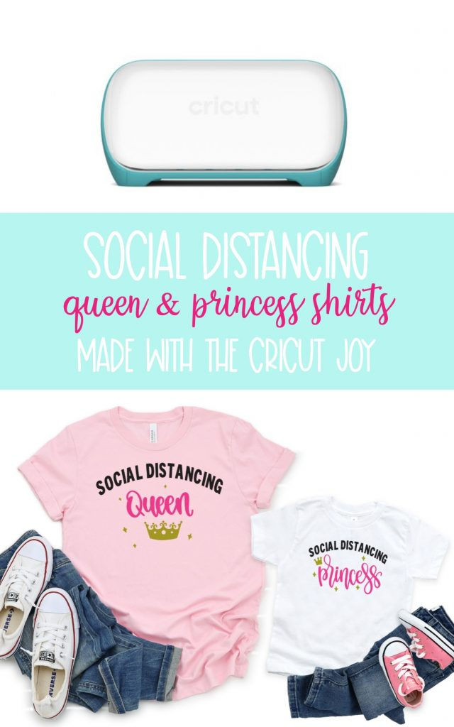 Do you know a woman who is rocking the social distancing game? Make DIY Social Distancing Princess and Social Distancing Queen shirts for them! The perfect handmade gift for mom for Mothers Day, birthdays or just because! Shirt is made using the Cricut Joy, Cricut Explore or Cricut Maker. This tutorial includes step by step instructions and link to a cut file in design space! #DIY #Homemade #CricutCreated #CricutJoy #CricutCrafts #QuarantineCrafts #CricutMaker #CricutExplore