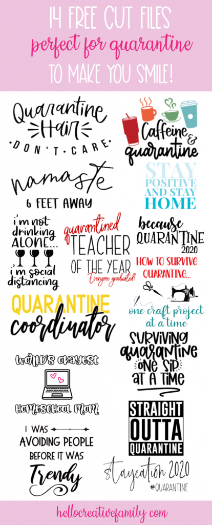 "Download 14 free Quarantine Cut Files from some of your favorite bloggers with this amazing quarantine svg collection! Includes ""Worlds Okayest Homeschool Mom"" from Hello Creative Family! Make tshirts, mugs, bags and more using your Cricut or Silhouette cutting machines! #CricutCreated #FreeSVG #FreeCutFile #Silhouette #CricutCrafts #QuarantineCrafts #Handmade #homeschooling"