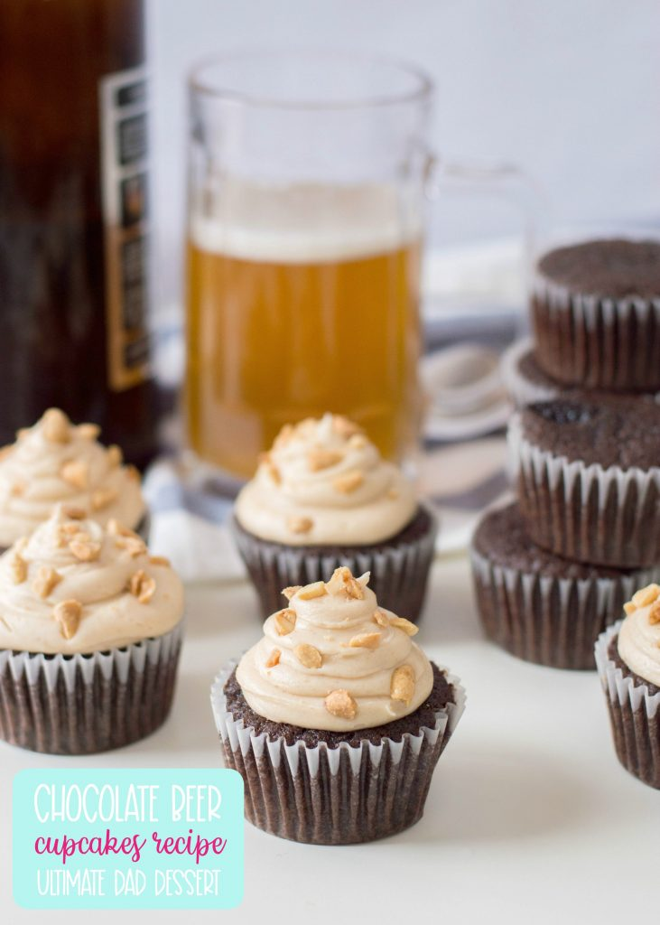 The perfect dessert to steal a man's heart-- our Chocolate Beer Cupcakes Recipe! With chocolate and beer in the batter, a peanut butter buttercream frosting and salty peanuts sprinkled on top, this recipe is the ultimate dad dessert! Perfect for Father's Day, birthdays and just because! #Cupcakes #Beer #Recipe #BeerRecipe #ChocolateCupcakes #FathersDay #Dessert #FathersDayCupcakes #FathersDayDessert #BeerRecipes