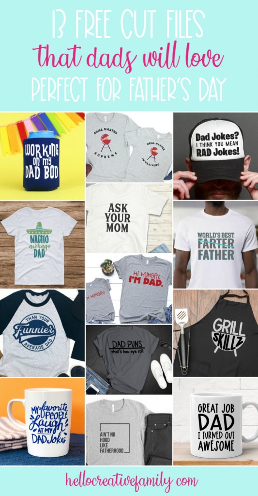 These 13 Free Cut Files have handmade gifts for dad's written all over them! Perfect for making shirts, aprons, mugs and more for fun DIY dad gifts for Father's Day, Christmas and birthdays! Cut using your Cricut Maker, Cricut Explore Air or Silhouette Cameo! #FreeSVG #CutFiles #SVGFiles #FathersDay #DadShirt #DIYDadShirt #DIYShirts #DadMug