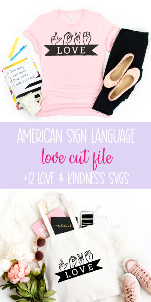 This ASL Love Cut File shows how to spell love in American Sign Language. Use this beautiful SVG to make shirts, mugs, tote bags and sweatshirts using your Cricut Maker, Cricut Explore Air or other electronic cutting machine that spread a message of love, inclusivity and kindness. #CricutMade #CricutCreated #ASL #Love #CricutCrafts #CutFiles #SVGFiles #FreeSVG #FreeCutFile #LoveCutFile #SilhouetteCameo