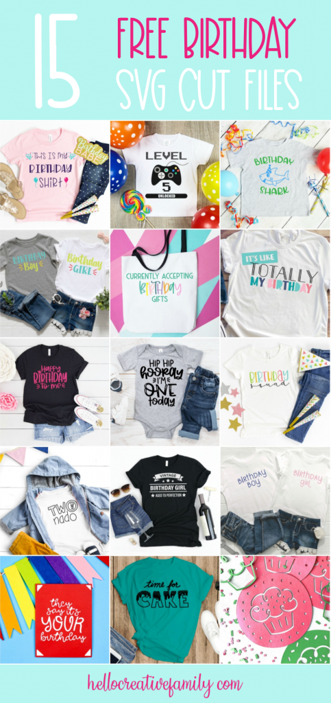 Create the cutest DIY birthday shirts, cards and decorations with these 15 free birthday svg files that you can cut with your cricut maker, cricut explore air and silhouette cameo! These cut files make easy birthday crafts! #SVGFiles #CutFiles #Birthday #BirthdayShirt #BirthdayCrafts #HandmadeBirthday #CricutMade #CricutCrafts #CricutCreated #crafts
