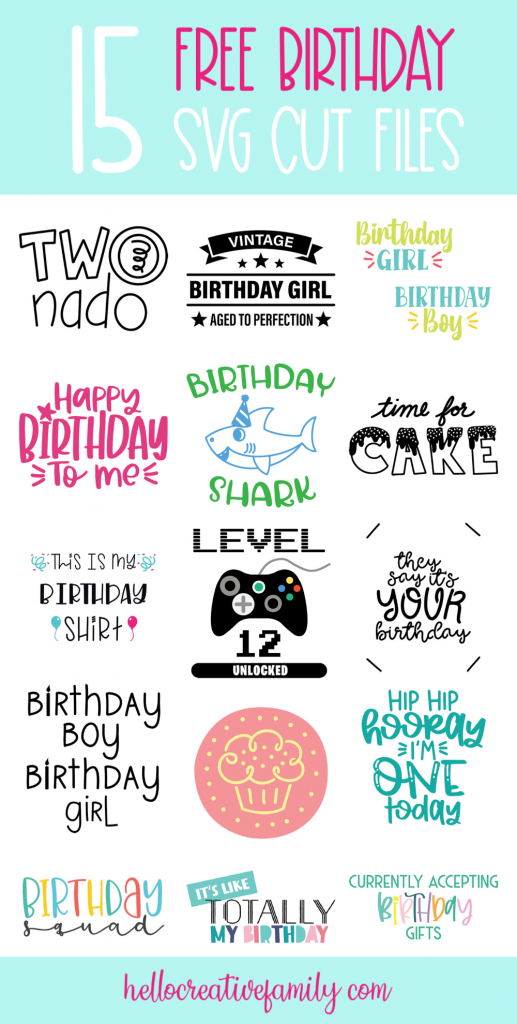 Create the cutest DIY birthday shirts, cards and decorations with these 15 free birthday svg files that you can cut with your cricut maker, cricut explore air and silhouette cameo! These cut files make easy birthday crafts! #SVGFiles #CutFiles #Birthday #BirthdayShirt #BirthdayCrafts #HandmadeBirthday