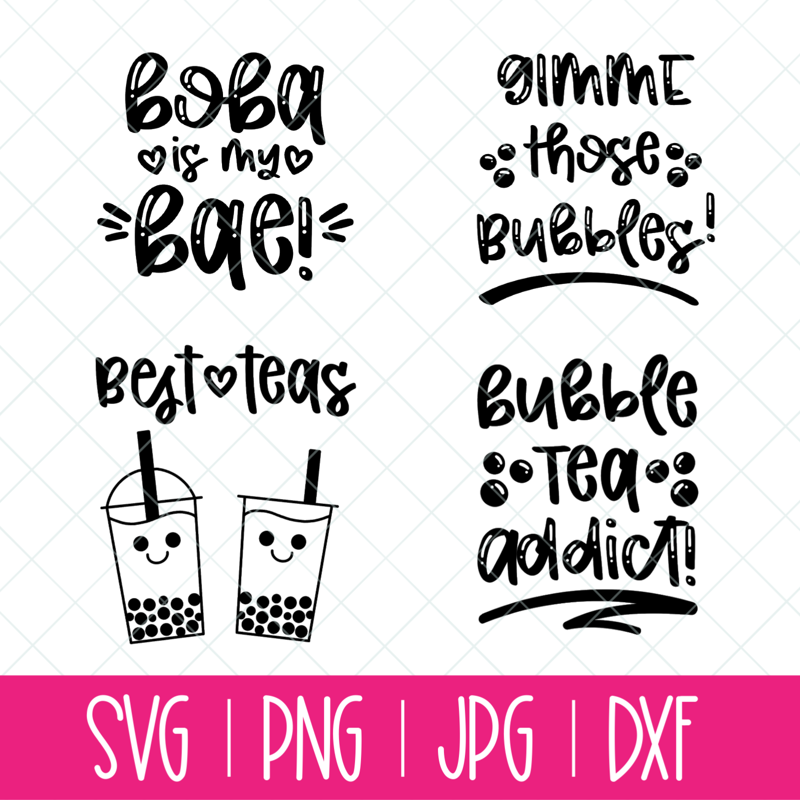 Bubble Tea Svg Bundle 4 Boba Themed Cut Files Hello Creative Family