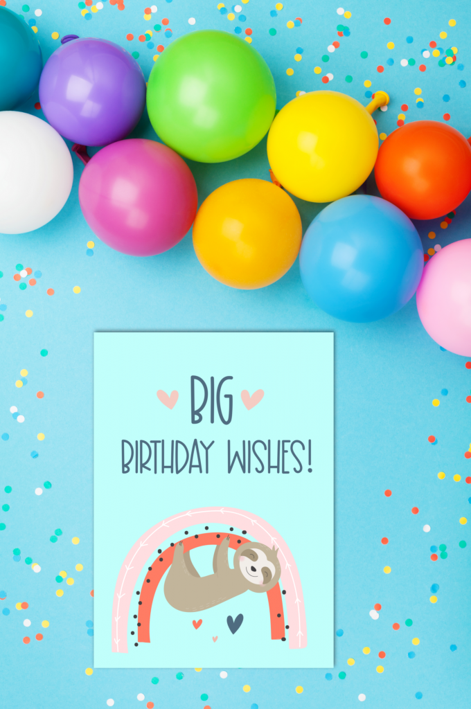 Sloths + rainbows = super duper adorable birthday cuteness! Download this free sloth birthday party printable or a bundle of 5 adorable printable sloth greeting cards. #Printables #Sloths #Rainbows #GreetingCards #PrintableCards #handmade