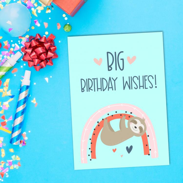 Sloths + rainbows = super duper adorable birthday cuteness! Download this free sloth birthday card printable or a bundle of 5 adorable printable sloth greeting cards. #Printables #Sloths #Rainbows #GreetingCards #PrintableCards #handmade