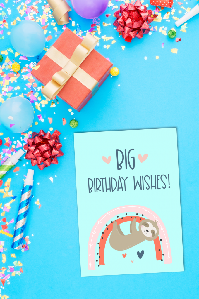 Sloths + rainbows = super duper adorable birthday cuteness! Download this free sloth birthday card printable or a bundle of 5 adorable printable sloth greeting cards. #Printables #Sloths #Rainbows #GreetingCards #PrintableCards #handmade