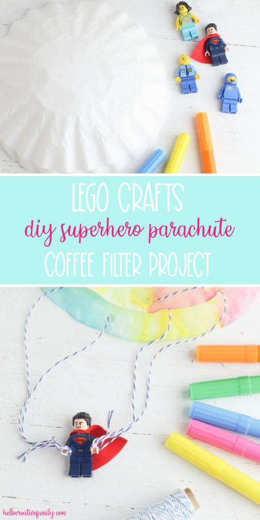 Looking for a DIY Lego Craft Idea? These DIY Lego Superhero Parachutes are fun and easy to make with supplies you probably already have at home! Make for Lego Star Wars characters, Lego Minecraft Characters, Superhero Lego Characters and more! Great lego crafts for birthday parties! #Lego #Crafts #LegoBirthday #LegoCrafts #LegoIdeas #CraftProjects #KidsCrafts