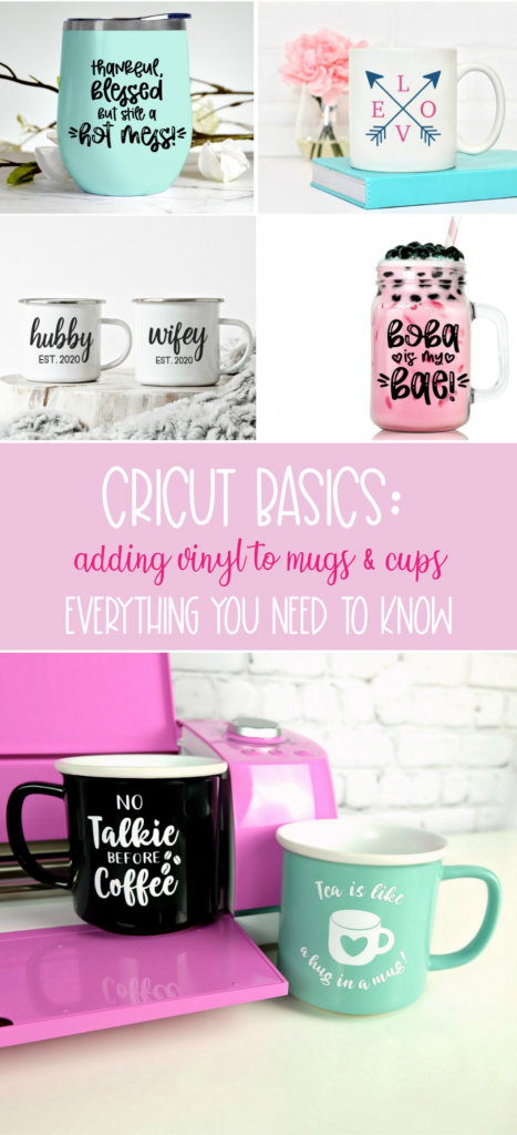 New to Cricut crafting and don't know where to start? Applying vinyl to mugs and cups is a great beginner Cricut Craft project! We're sharing everything you need to know to make a beautiful handmade mug from uploading the cut file, to applying vinyl that will last! #CricutCrafts #Cricut #CricutCreated #Handmade #CricutBasics #Cricut #Vinyl #handmadegift #Cricut101 #BeginnerCrafts #CuttingMachine #Crafts #CustomMugs #mugs
