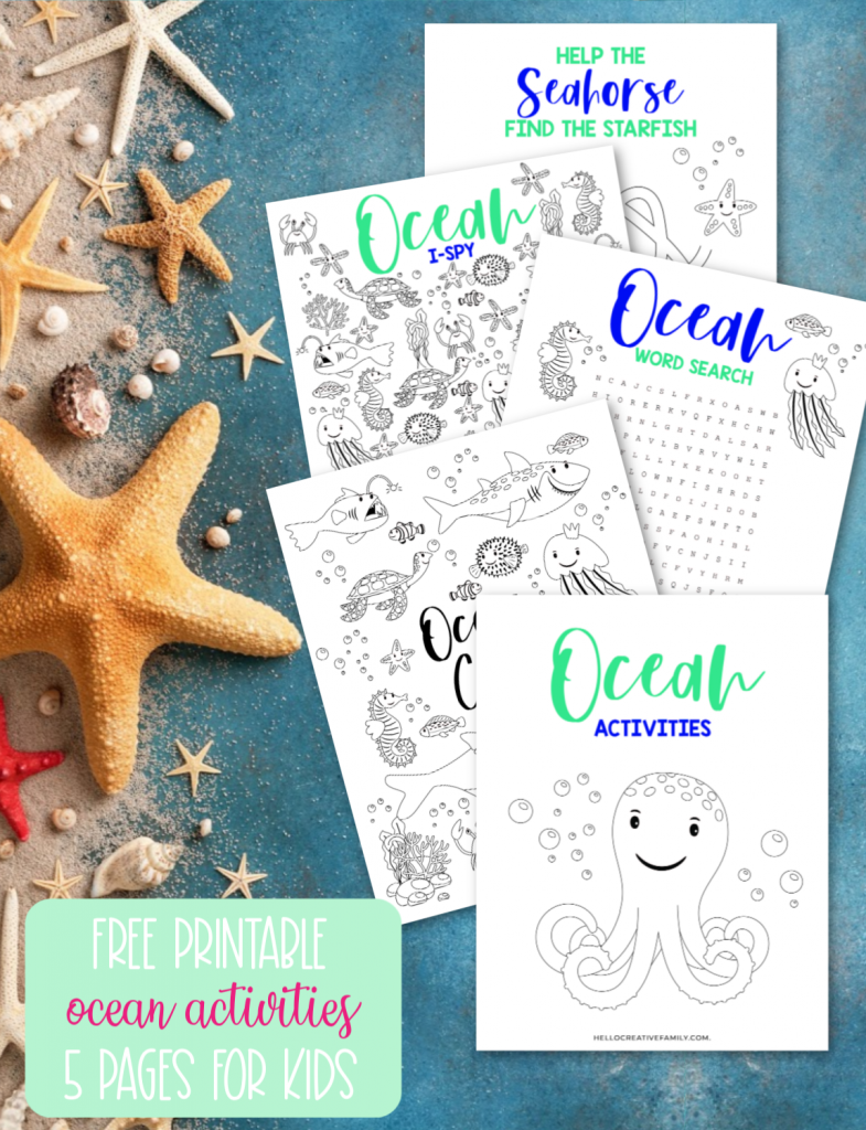 Free Ocean Printable! This 5 page kids activity pack Includes an ocean themed word search, ocean coloring sheet, ocean I spy and an ocean maze all filled with your favorite sea creatures! Perfect for ocean themed birthday parties, homeschooling activities, and kids boredom busters! These kids ocean activity worksheets are as cute as can be! #Printables #kidsactivities #printable #OceanBirthday #ColoringSheet #wordsearch #SummerCrafts #teacher