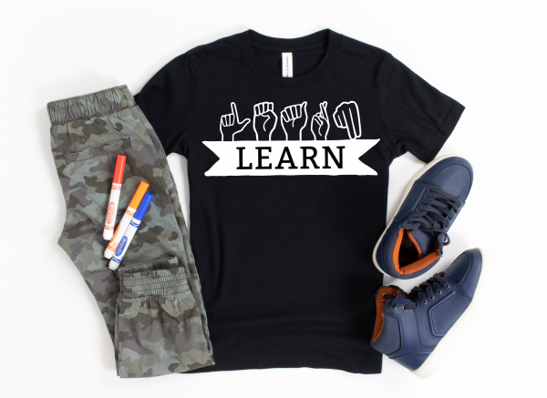Download 6 ASL Spelling Inspiring Words SVG files to make DIY shirts, hoodies, mugs, tote bags and more. Use your Cricut or Silhouette to cut these ASL Cut Files. SVGs include Learn, Teach, Dream, Peace, Craft and Love. #SVGFiles #Cricut #Silhouette #ASL #AmericanSignLanguage #InspiringWords
