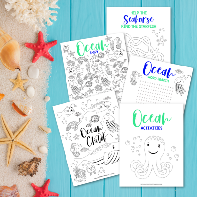 Free Ocean Printable! This 5 page kids activity pack Includes an ocean themed word search, ocean coloring sheet, ocean I spy and an ocean maze all filled with your favorite sea creatures! Perfect for oceam themed birthday parties, homeschooling activities, and kids boredom busters! These kids ocean activity worksheets are as cute as can be! #Printables #kidsactivities #printable #OceanBirthday #ColoringSheet #wordsearch #SummerCrafts #teacher