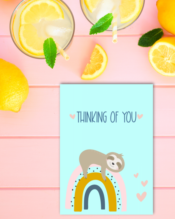 If you love sloths and rainbows then this is for you! These printable sloth cards are adorable for just about every occasion including birthday, Mother's Day, Father's Day, Thinking of You, Hang in There and more! Also includes Sloth Nursery Art. #Sloth #Printables #PrintableCards #NurseryArt #Printable #Rainbows
