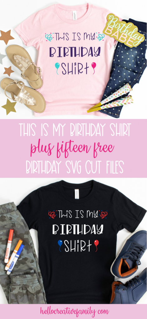 "Download this free ""This Is My Birthday Shirt"" svg file to make adorable DIY birthday shirts for kids! Includes a collection of 15 free birthday cut files that you can cut with your Cricut, Silhouette or other electronic cutting machine!  These cut files make easy birthday crafts! #SVGFiles #CutFiles #Birthday #BirthdayShirt #BirthdayCrafts #HandmadeBirthday #CricutMade #CricutCrafts #CricutCreated #crafts"