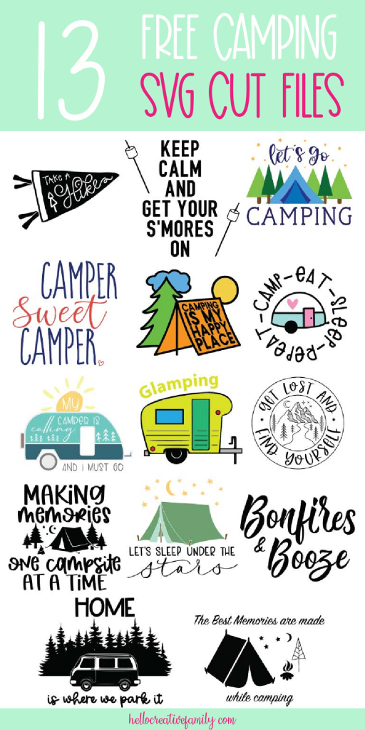 Love camping? Adore crafts? Grab 13 free camping svgs perfect for making all kinds of camping themed DIY projects using your Cricut or Silhouette! From camping mugs, to camping shirts to camper decor these camping themed cut files will help you craft the perfect project! #Cricut #Silhouette #Camping #DIY #Crafts #Handmade #CuttingMachineCrafts