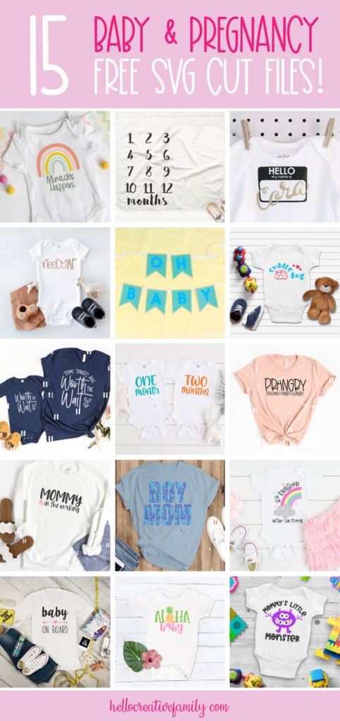 Oh baby! Looking for the perfect handmade baby shower gift idea? We've got you covered with 15 Free Oh baby! Looking for the perfect handmade baby shower gift idea? We've got you covered with 15 Free Pregnancy and Baby SVG files! This collection of cut files is just as cute as can be and perfect for making onesies, blankets and other baby gifts using your Cricut or Silhouette! #babyshower #BabyGift #PregnancySVG #BabyGiftSVG #BabySVG #Cricut #Silhouette #CricutMade #CricutCreated