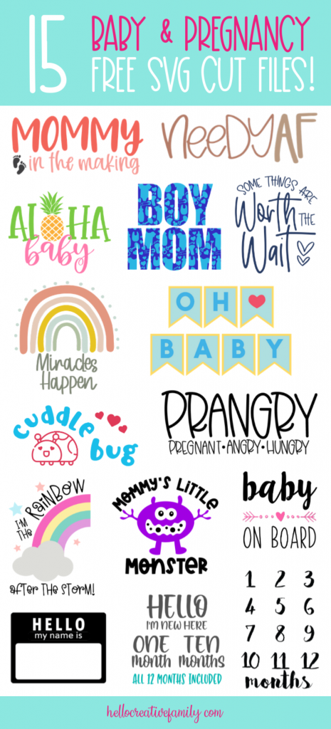 Oh baby! Looking for the perfect handmade baby shower gift idea? We've got you covered with 15 Free Pregnancy and Baby SVG files! This collection of cut files is just as cute as can be and perfect for making onesies, blankets and other baby gifts using your Cricut or Silhouette! #babyshower #BabyGift #PregnancySVG #BabyGiftSVG #BabySVG #Cricut #Silhouette #CricutMade #CricutCreated
