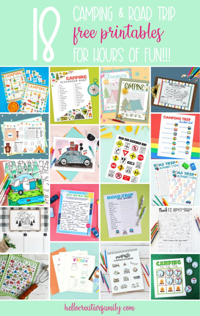 "Heading camping or on a road trip? Keep the kids from saying ""are we there yet?!?!"" with 18 free camping and road trip printables! This set includes camping bingo, camping scavenger hunts, road trip I-spy, free coloring sheets, road trip mad libs and more! The perfect kids boredom busters while travelling! #Printables #TotallyFreePrintables #RoadTrip #Camping #BoredomBusters #FreePrintables #KidsWorksheets"