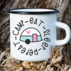 Use this adorable Camp Eat Sleep Repeat svg with a vintage trailer to make shirts, camping mugs, camper decor, tote bags and other fun camping themed DIYs! Files included in this instant download include SVG, PNG DXF and JPG. Can be cut on a Cricut Maker, Cricut Explore, Cricut Joy, Silhouette Cameo, or other machines that use these types of files. #Cutfiles #Camping #SVG #Trailer