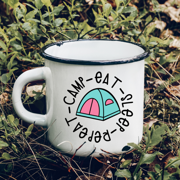 Use this adorable Camp Eat Sleep Repeat svg with a cute tent to make shirts, camping mugs, camper decor, tote bags and other fun camping themed DIYs!  Files included in this instant download include SVG, PNG DXF and JPG. Can be cut on a Cricut Maker, Cricut Explore, Cricut Joy, Silhouette Cameo, or other machines that use these types of files. #Cutfiles #Camping #SVG #tent #glamping