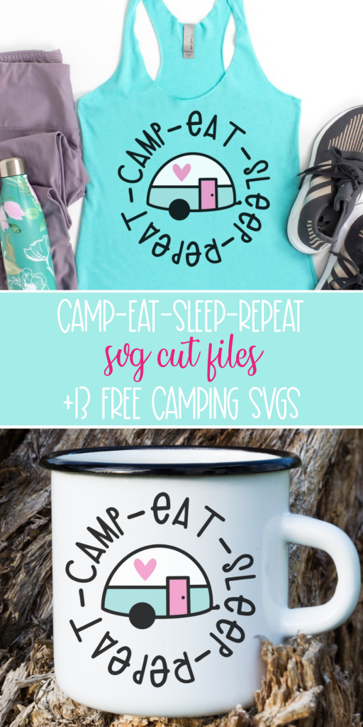 Camp Eat Sleep Repeat is my summertime motto! This adorable free camping cut file has the cutest camper and those summertime words! Create DIY camping gear with this awesome free svg. #Camping #Cricut #Silhouette #Handmade #CricutCrafts #CricutMade #CricutCreated