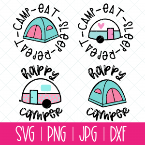 Use this Cute Camping Cut File Bundle With Vintage Trailers and Tents to make shirts, camping mugs, camper decor, tote bags and other fun camping themed DIYs! Files included in this instant download include SVG, PNG DXF and JPG. Can be cut on a Cricut Maker, Cricut Explore, Cricut Joy, Silhouette Cameo, or other machines that use these types of files. #Cutfiles #Camping #SVG #tent #glamping #trailer #camper #CricutCreated #CricutMade #SummerCrafts