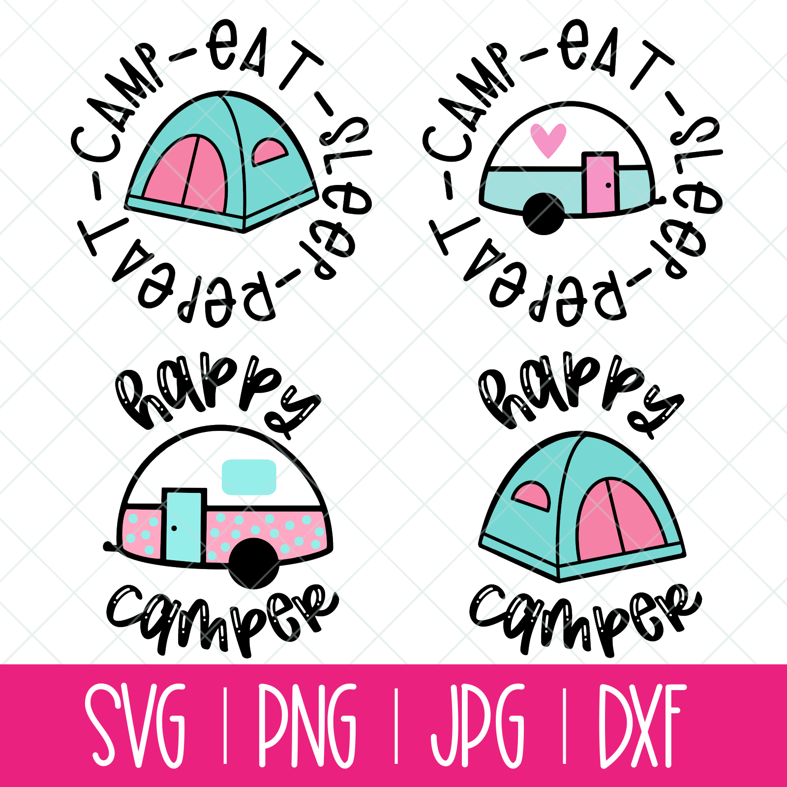 Cute Camping Cut File Bundle With Vintage Trailers And Tents