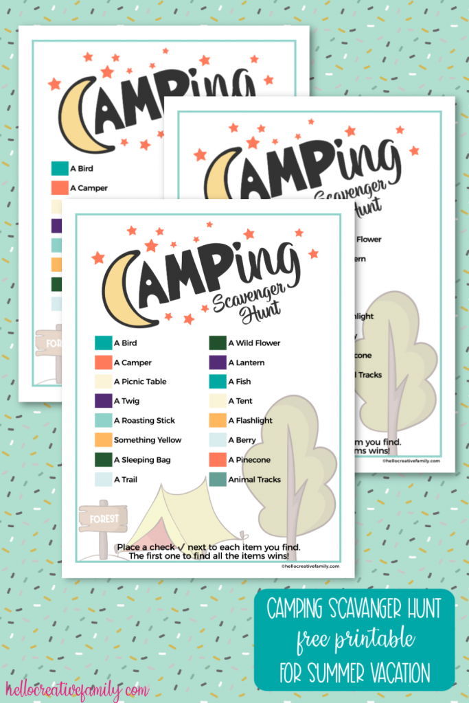 Looking for kids activities for camping? Download this free camping scavenger hunt printable, print and take with you for hours of old fashioned summer fun! #Camping #printable #FreePrintable #kidsacitivities #Summer #scavengerhunt