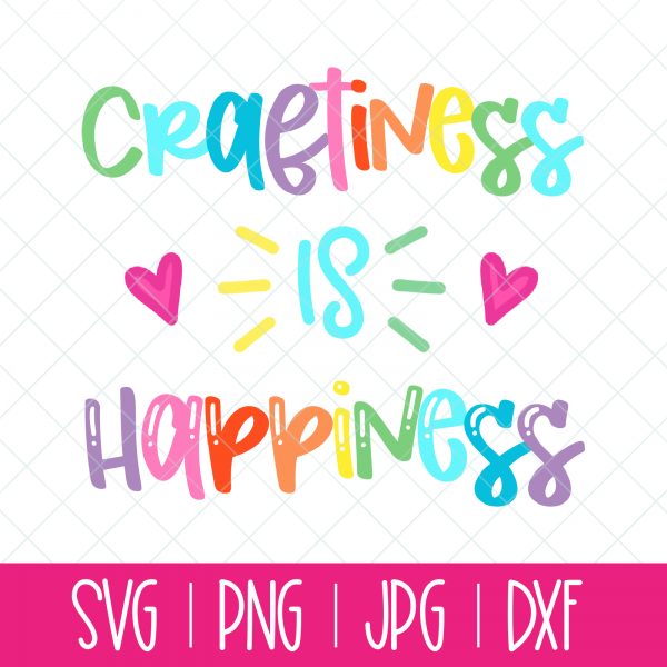 Spread crafting joy with a bright and colorful Rainbow Craftiness is Happiness SVG cut file from Hello Creative Family! Use with your Cricut or Silhouette.