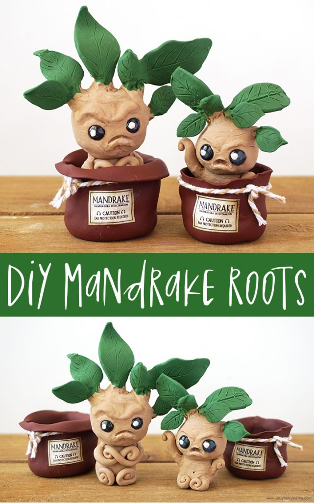 DIY Harry Potter Mandrake Roots Polymer Clay Sculptures from Artsy Fartsy Mama