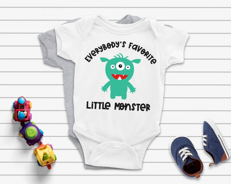 Everybody's Favorite Little Monster Cut File- The perfect SVG bundle for creating handmade baby shower gifts! This cut file bundle comes with 5 different monsters along with the names of special family members for making onesies and baby shirts using your Cricut or Silhouette. #BabyGift #handmade #Cricut #Silhouette