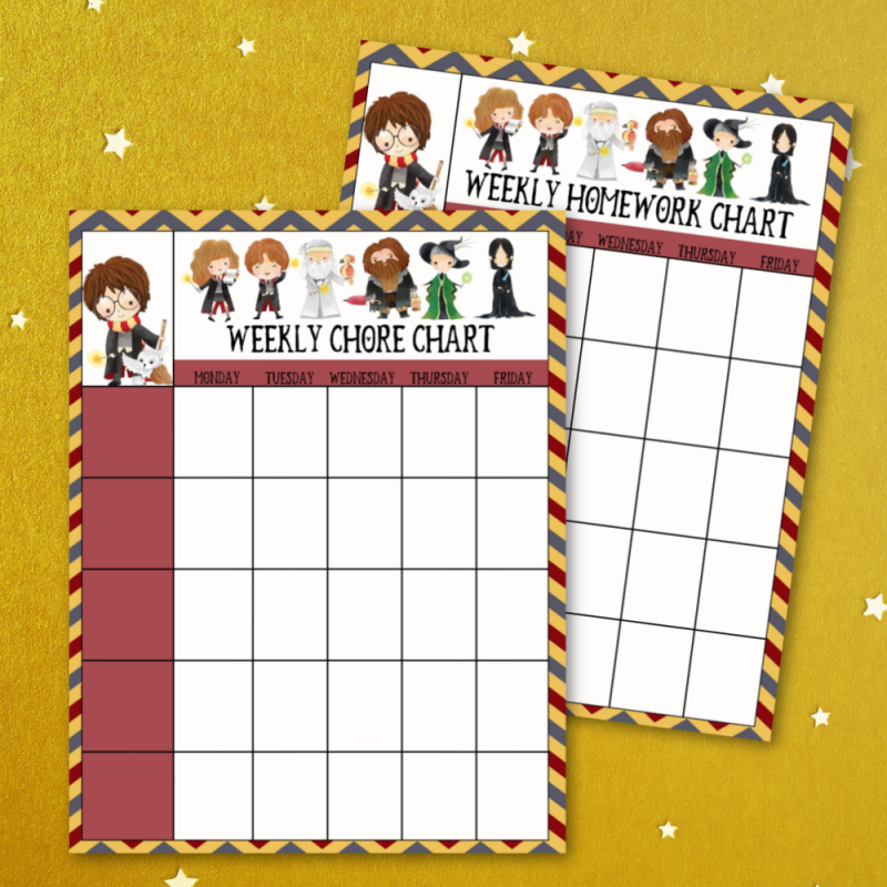 Keep your kids organized with these adorable free Harry Potter printables. Includes a chore chart and homework chart featuring Harry, Hermione, Ron, Dumbledore, Fawkes, Hagrid, McGonagall and Snape. #HarryPotter #Printables #FreePrintables #Organization #ChoreChart #homeworkchart #homeschooling #homeorganization