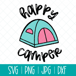 Use this adorable Happy Camper svg with a cute tent to make shirts, camping mugs, camper decor, tote bags and other fun camping themed DIYs! Files included in this instant download include SVG, PNG DXF and JPG. Can be cut on a Cricut Maker, Cricut Explore, Cricut Joy, Silhouette Cameo, or other machines that use these types of files. #Cutfiles #Camping #SVG #tent