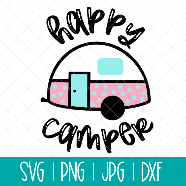 Use this adorable Happy Camper svg with a vintage trailer to make shirts, camping mugs, camper decor, tote bags and other fun camping themed DIYs!  Files included in this instant download include SVG, PNG DXF and JPG. Can be cut on a Cricut Maker, Cricut Explore, Cricut Joy, Silhouette Cameo, or other machines that use these types of files. #Cutfiles #Camping #SVG #Trailer