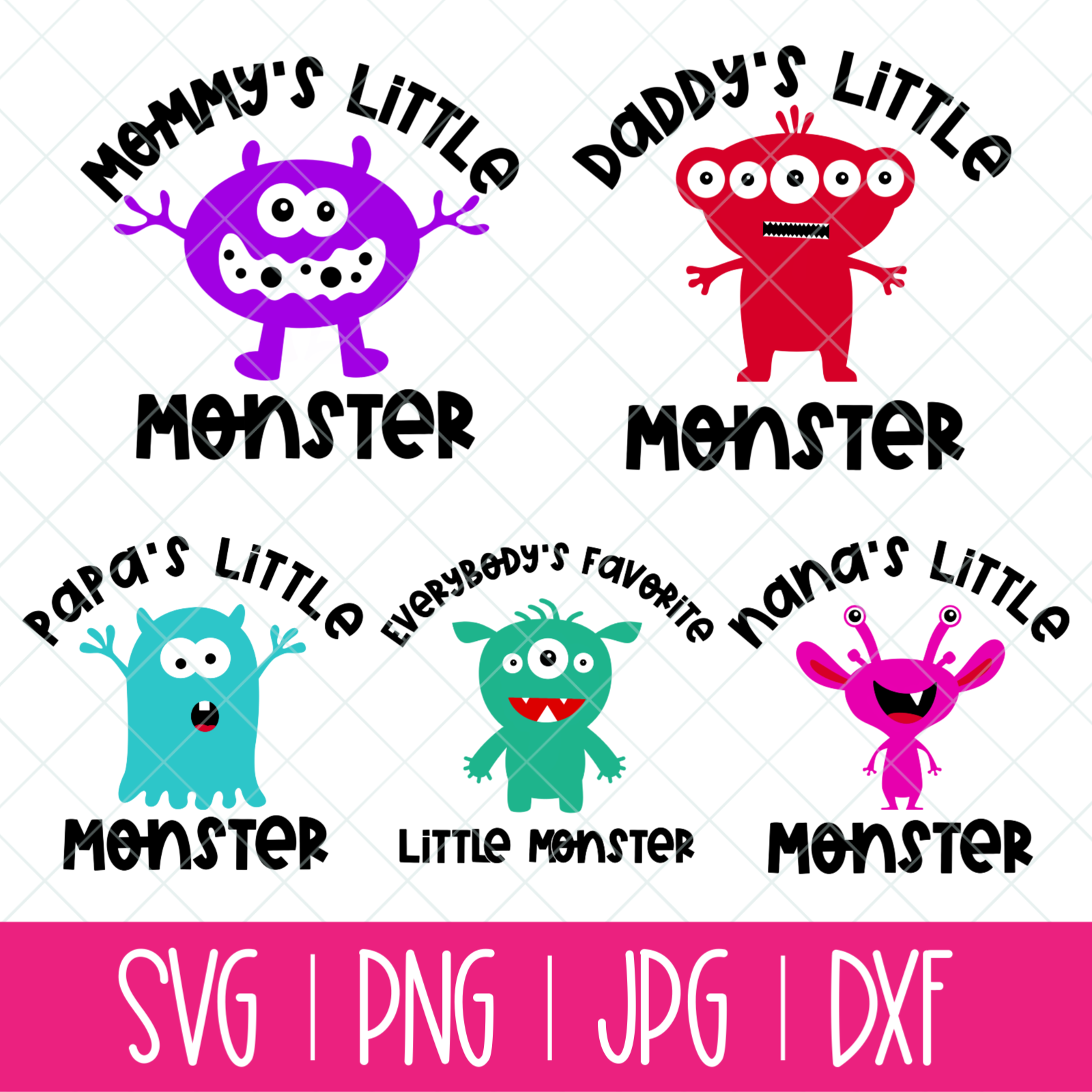 Little Monster Svg Bundle Mix And Match 5 Monsters With Family Member Names